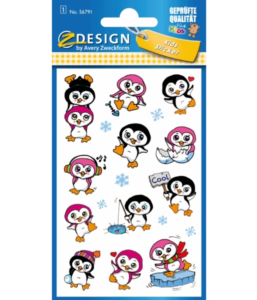 Naklejki dla dzieci - Metaliczne pingwiny (56791)