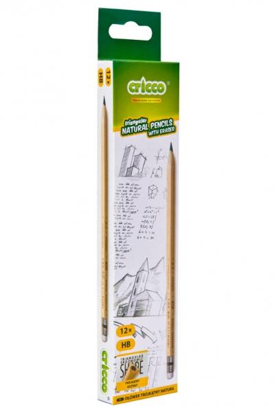 Ołówek HB Cricco Natural, trójkątny z gumką (CR315)
