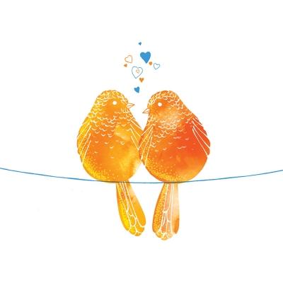 Karnet Swarovski kwadrat Pomarańczowe ptaszki (CL2602)