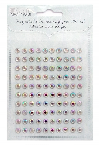 Kryształki samoprzylepne 6 mm 100 szt Opal .