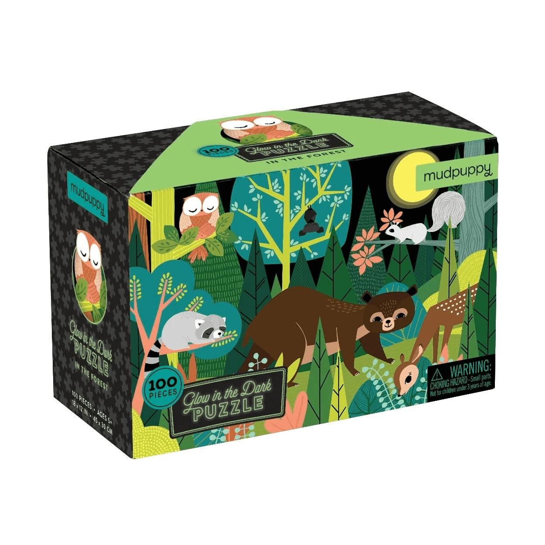 Mudpuppy, Puzzle świecące w ciemności 100: W lesie (MP54029)