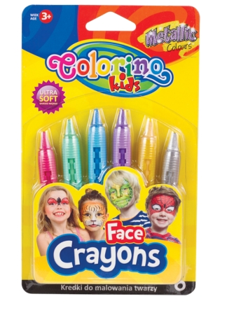 Kredki do malowania twarzy 6 metalicznych kolorów (65917PTR)