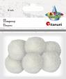 Pompony włóczkowe, 6 szt. 3cm - białe (412945)