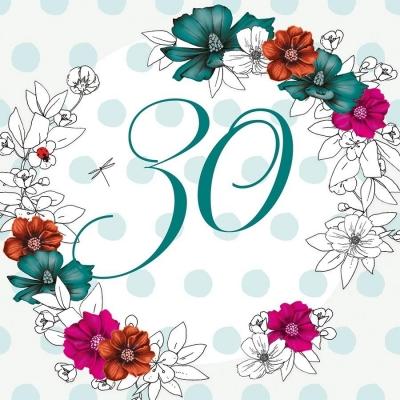 Karnet Swarovski kwadrat CL1430 Urodziny 30 kwiaty