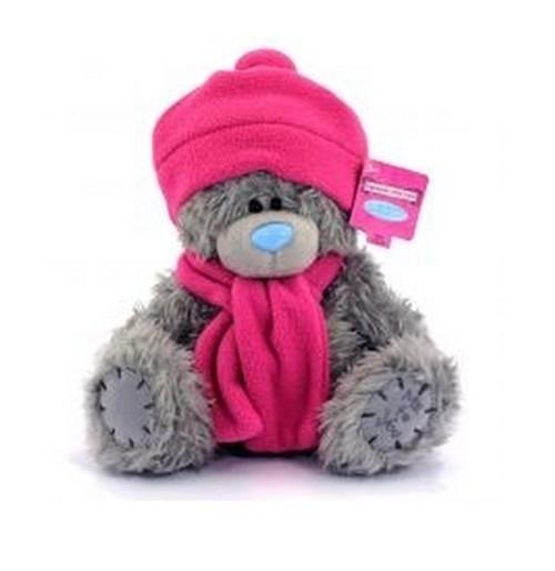 Miś 22 cm  w różowej czapce i szaliku