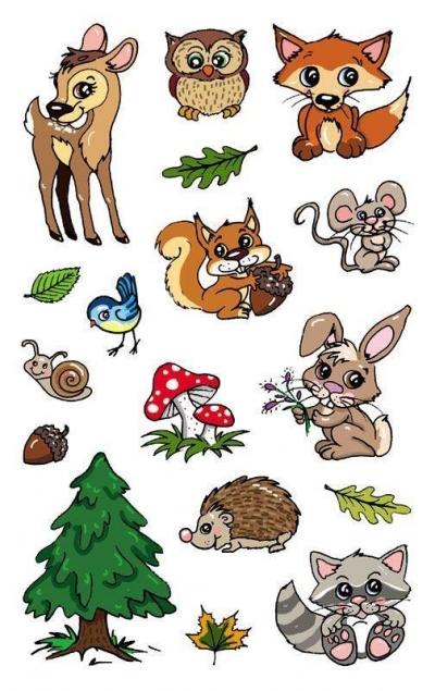 Naklejki metaliczne dla dzieci - Leśne zwierzęta (56792)
