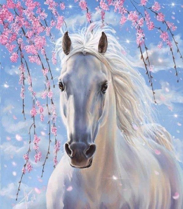 Obraz Malowanie po numerach - Koń w kwiatach wiśni (BS8528)