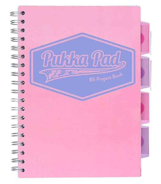 Kołozeszyt Pukka Pad B5 Project Book, 100 kartkowy, kratka, różowy (3032S(PK)-PST)