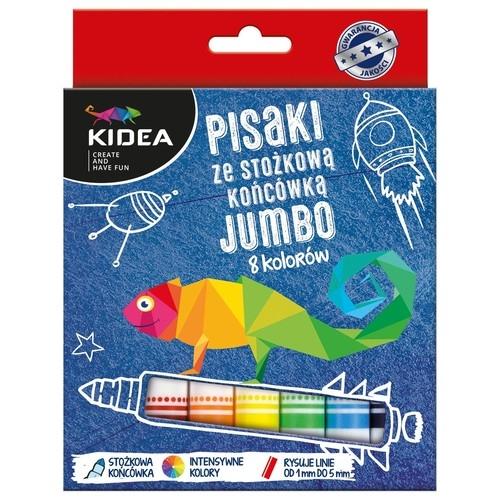 Pisaki Kidea ze stożkową końcówką Jumbo 8 kolorów