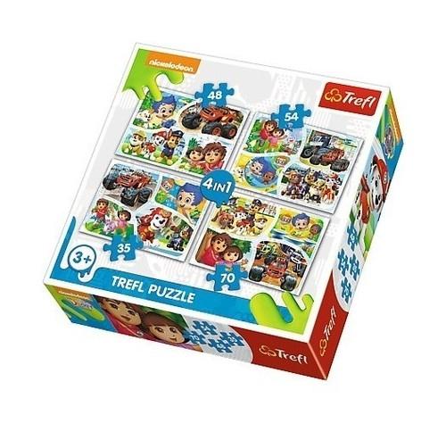 Puzzle 4w1 Wspólna zabawa Nickelodeon (34292)
