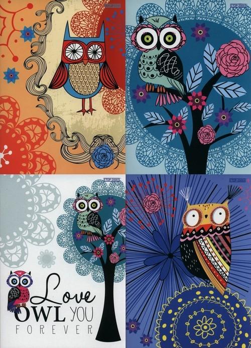 Zeszyt A5 Top-2000 w kratkę 60 kartek Owl you forever 10 sztuk mix