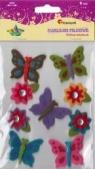 Naklejki filcowe: motyle, kwiaty, mix rozmiarów (113-0134)