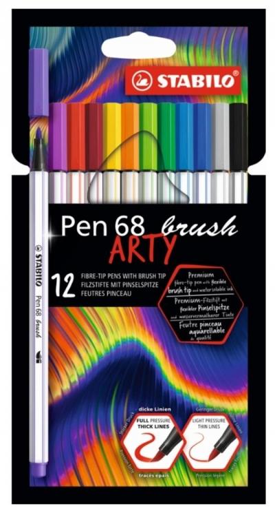Flamastry Pen 68 brush Arty 12 kolorów STABILO