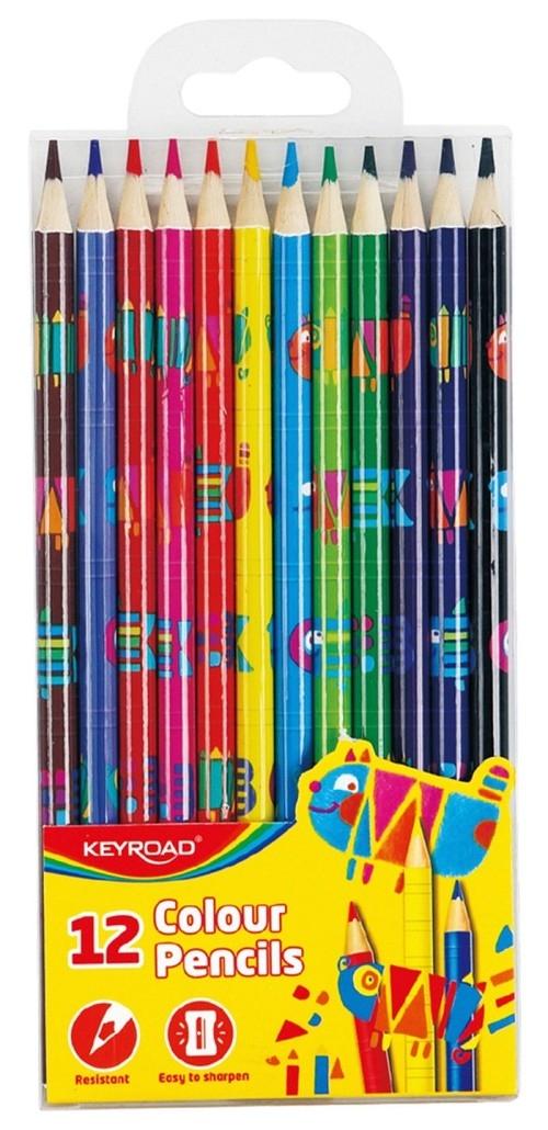 Kredki ołówkowe trójkątne z nadrukiem 12 sztuk mix kolorów