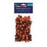 Pompony poliestrowe 1 cm mix brązowy, 120 szt. (KSPO-031)