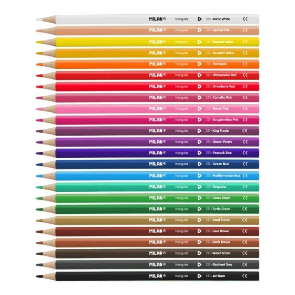 Kredki ołówkowe Milan 231 trójkątne, 24 kolory (0722324)