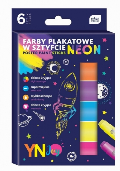 Farby plakatowe w sztyfcie Neon 6 kolorów