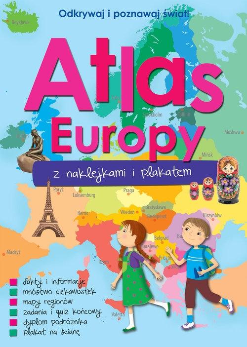 Atlas Europy z naklejkami i plakatem praca zbiorowa
