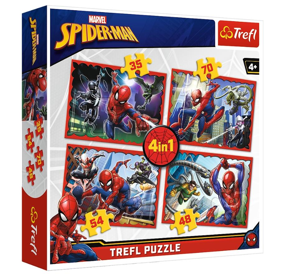 Puzzle 4w1: W sieci Spider-mana (34293) (Uszkodzone opakowanie)