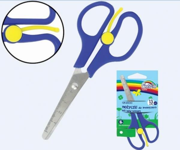 Nożyczki szkolne z linijką dla leworęcznych
