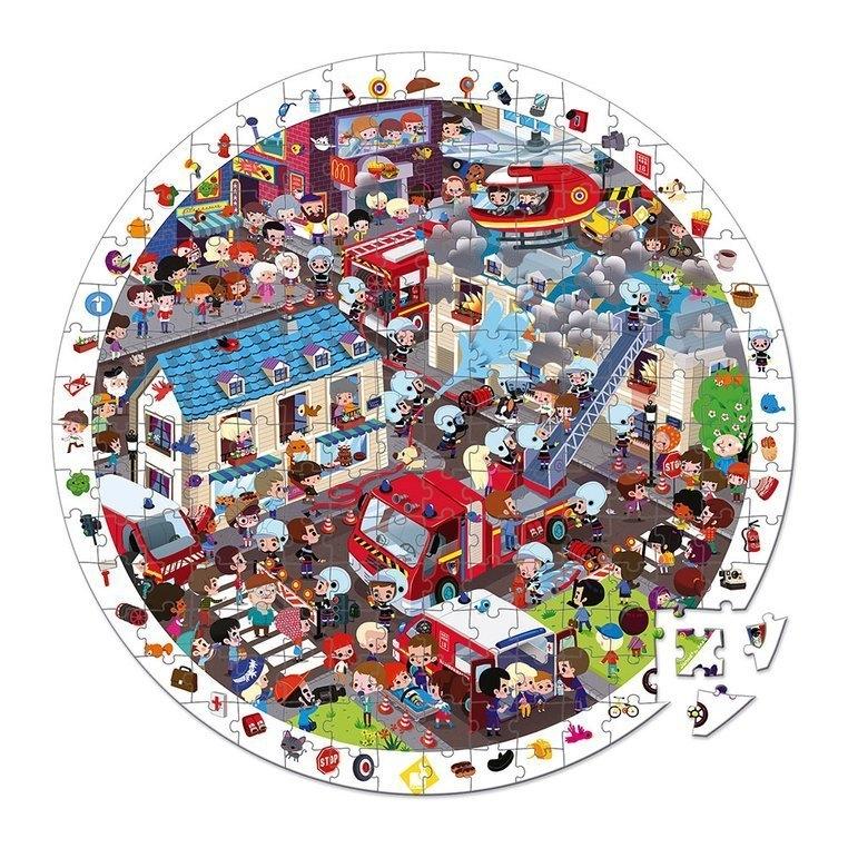 Puzzle obserwacyjne w walizce okrągłe Straż pożarna 208 elementów (J02793)