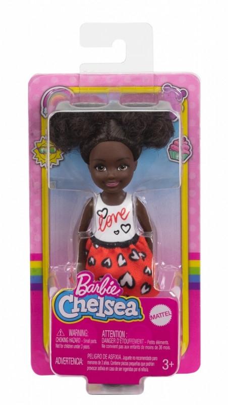 Lalka Barbie Chelsea i przyjaciele Mała lalka Biało-pomarańczowy strój/Afro kucyki (DWJ33/GXT35)