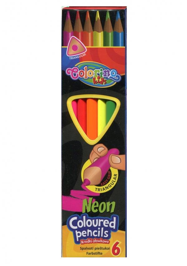 Kredki ołówkowe trójkątne neonowe 6 kolorów (33053PTR)