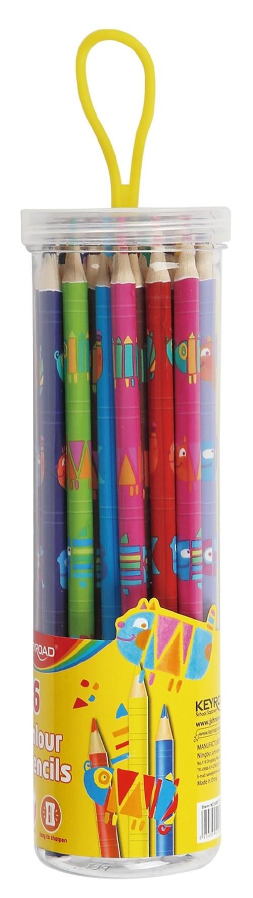 Kredki ołówkowe trójkątne z nadrukiem 36 sztuk mix kolorów