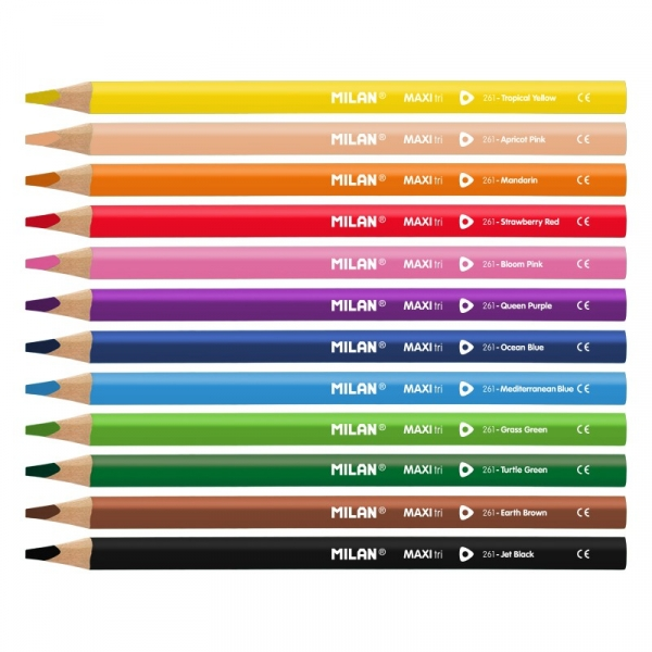 Kredki ołówkowe Milan MAXI 261 trójkątne, 12 kolorów w kartonowym opakowaniu (0722612)