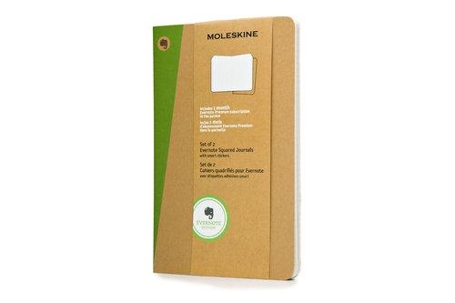 Zestaw 2 Zeszytów Moleskine EVERNOTE JOURNALS L (13x21cm) w kratkę + naklejki SMART