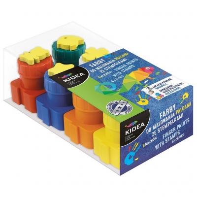 Farby do malowania palcami ze stemplami 8 sztuk