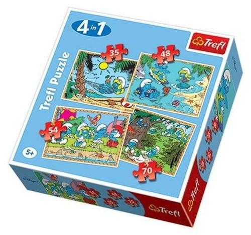 Puzzle 4w1 Smerfy Relaks (34093)