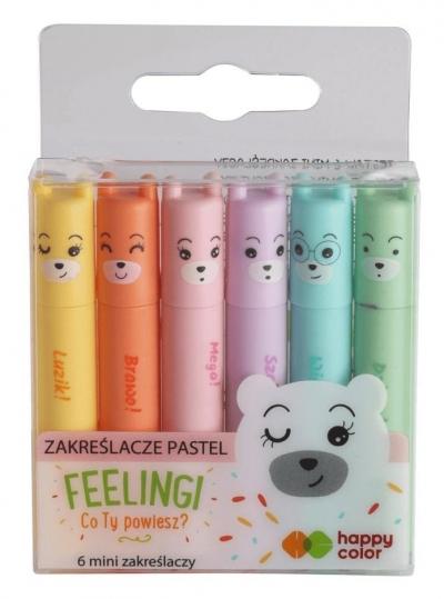Zakreślacze mini pastelowe Happy Color - 6 kolorów (55273)