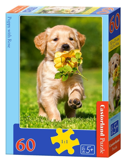 Puzzle 60: Puppy with Rose (B-06939)