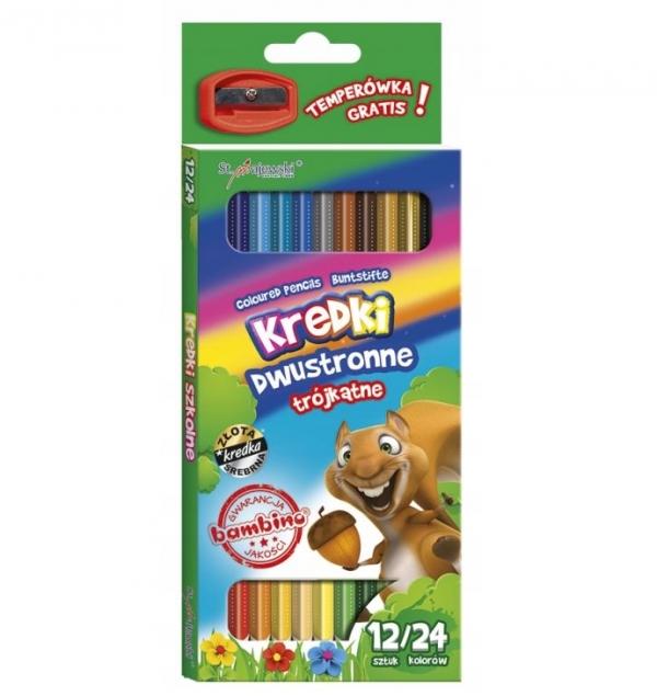 Kredki szkolne Bambino trójkątne dwustronne 12 sztuk/24 kolory + temperówka