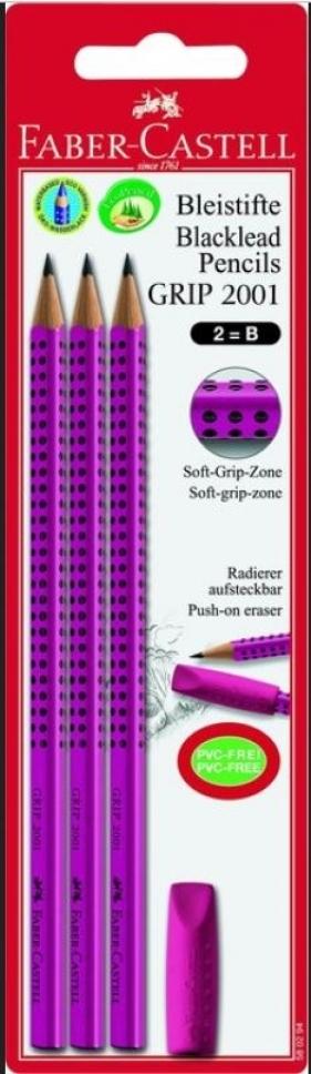 Zestaw Grip 2001 set jagoda 3x ołówek + gumka nakładka blister (58 02 94)