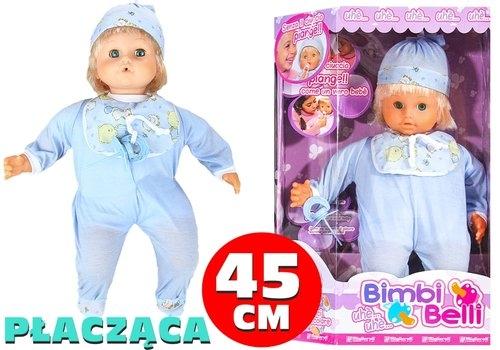 Lalka Bobas w czapce niebieskie śpioszki płacze