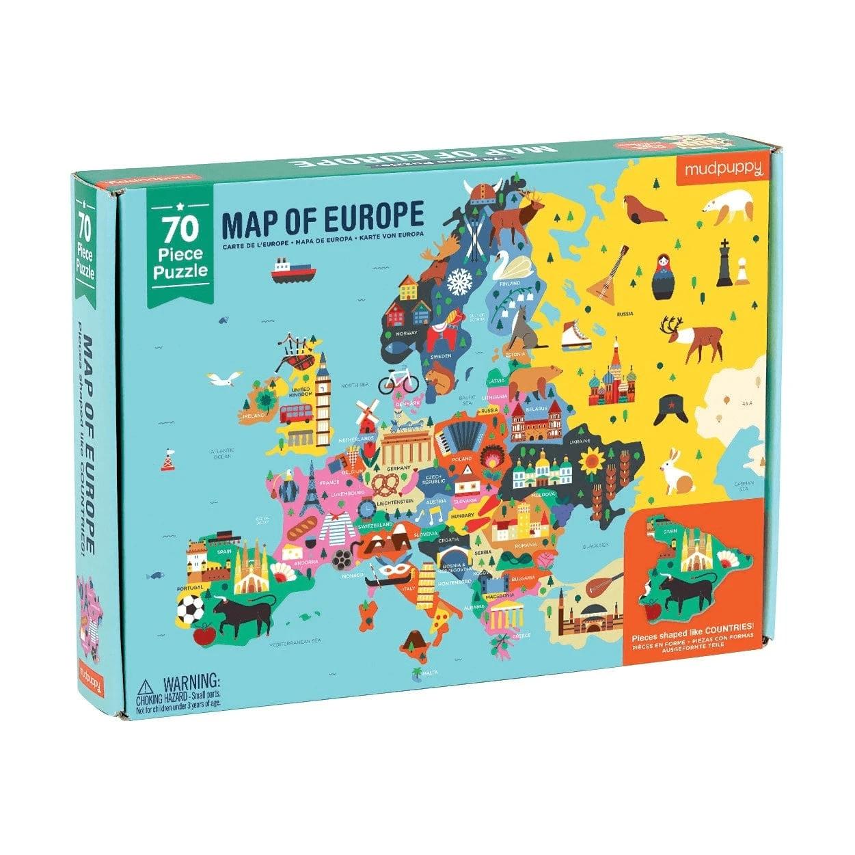 Mudpuppy, puzzle 70: Mapa Europy z elementami w kształcie państw (MP51943)