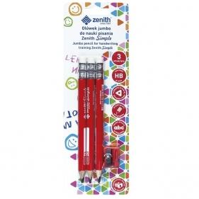 Ołówki Zenith Simple Jumbo HB, do nauki pisania, 3 szt. + temperówka (206316002)