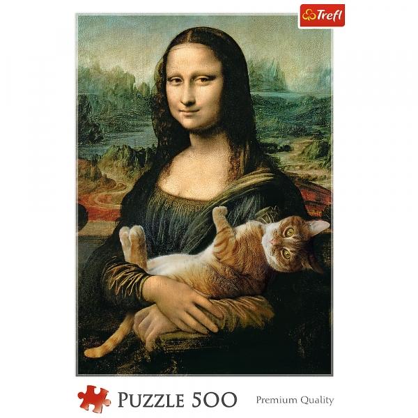Puzzle 500: Mona Lisa i kot Mruczek (37294)