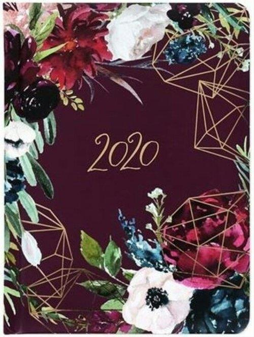 Kalendarz tygodniowy DI3 kwiaty bordo