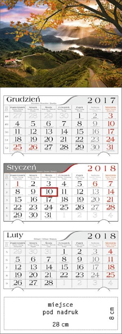Kalendarz trójdzielny Jesienny zachód 2018 GM-917-T11-BIAŁY