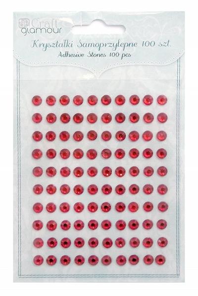 Kryształki samoprzylepne 6 mm 100 szt Ruby .