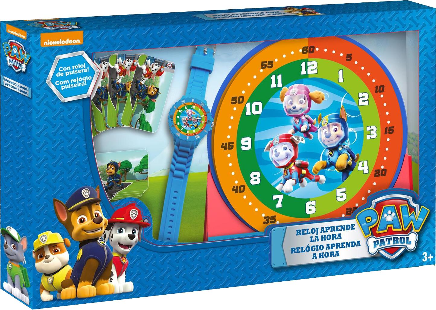 Zestaw do nauki o czasie z zegarkiem i kartami do gry - Psi Patrol (PW16477)