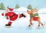 Karnet B6 z kopertą Święta Santa Skating with a Deer