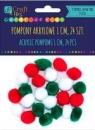 Pompony akrylowe 1 cm mix świąteczny, 24 szt. (KSPO-034)