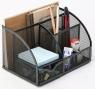 Przybornik biurkowy z miejscem na listy czarny metal (KF17295)