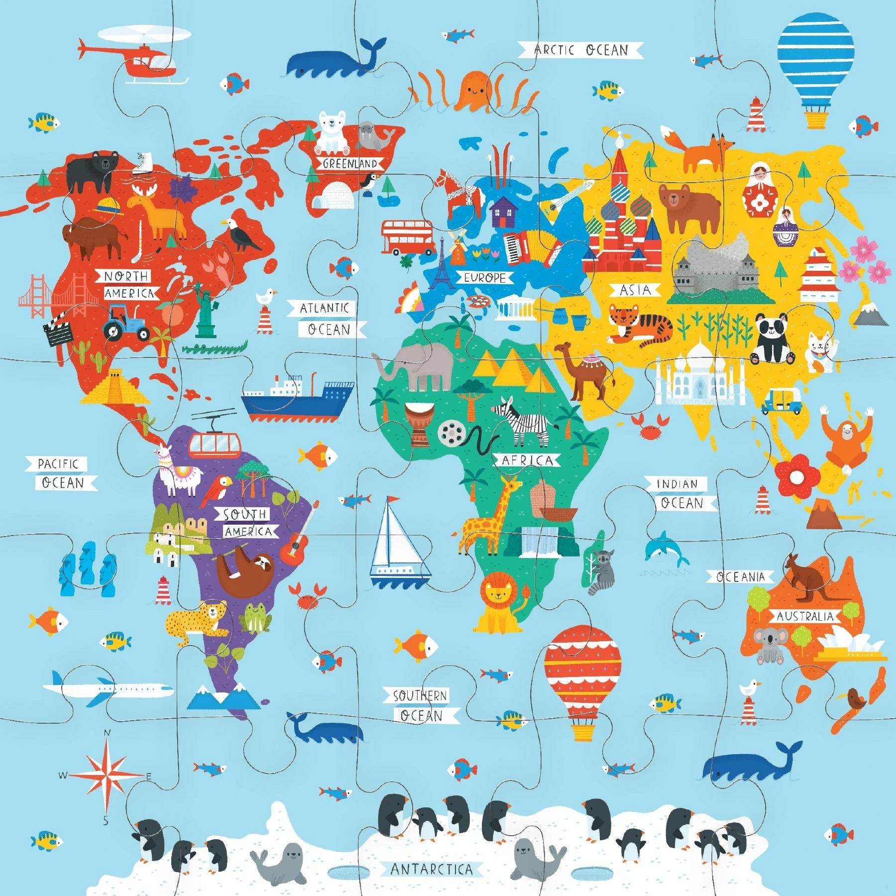 Mudpuppy, puzzle podłogowe Jumbo 25: Mapa świata (MP67951)
