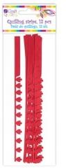 Płatkowe paski do quillingu piwonia i frędzle - czerwone, 12 szt. (QGPQ-048)