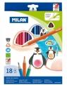 Kredki ołówkowe Milan 231 trójkątne, 18 kolorów w kartonowym opakowaniu (0722318)